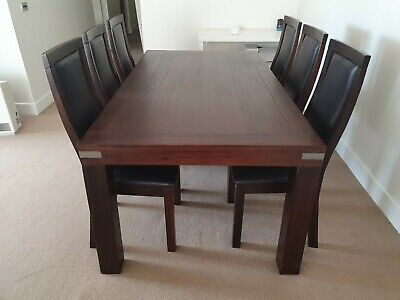 AU200 • Buy Dark Timber 6 Seater Dining Table