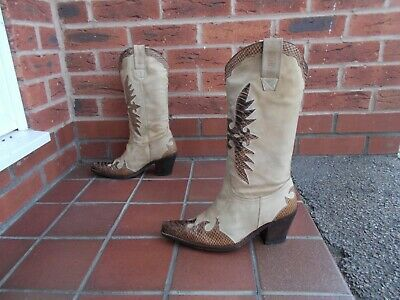 £41 • Buy SANCHO Tan Leather Cowboy Boots * S6 Uk * PULL ON * REAL LEATHER!