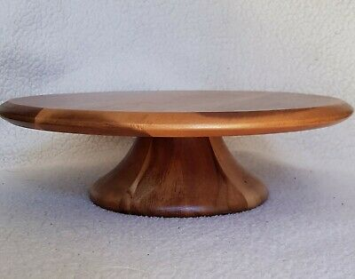 £19.99 • Buy Handcrafted Wood Cake Plate Stand Server 28cm Diameter 8cm High