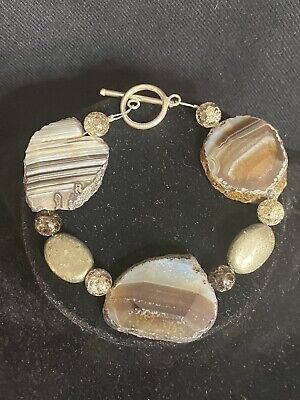 """£3.95 • Buy Chunky 8"""" Banded Agate & Pyrite Bracelet With Silver Tone Toggle Clasp"""