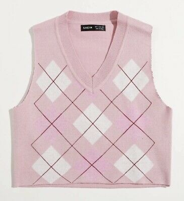 £10 • Buy Cropped Light Pink Argyll Sweater Vest Size Small