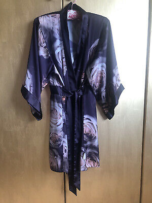 £24.99 • Buy Ted Baker Kimono Robe Dressing Gown Purple With Pink Roses Size 8-10
