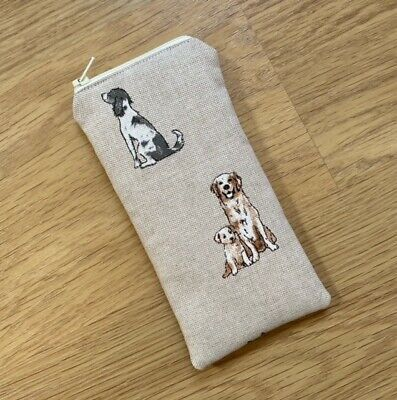 £5.65 • Buy Handmade Glasses Sunglasses Zipped Case Pouch - Shabby Dogs Linen Look Fabric