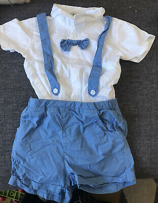 £1.99 • Buy 18-24 Month Baby Boy Blue Short Suit, Shirt, Bow Tie. Summer Wedding / Party