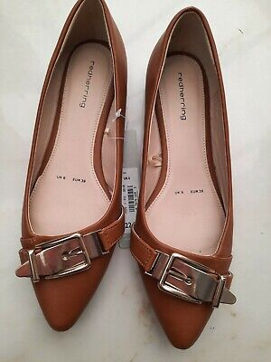 £6.50 • Buy Red Herring Ballerina Pump Tan Colour Gold Buckle Shoes BNWT 39 Size 6