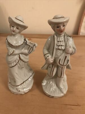 $ CDN3.41 • Buy Vintage White Figurines Man & Lady Playing Musical Instruments 5.5 Inches High