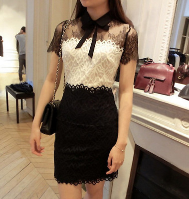 $ CDN88.91 • Buy Black And White Color Matching Sweet Lace Bow Slim Dress Sandr*