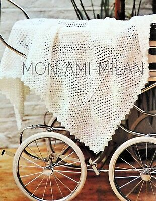 £3.50 • Buy Baby Shawl, Crochet Pattern Photocopy To Make Babies Pram Or Cot Cover, Blanket