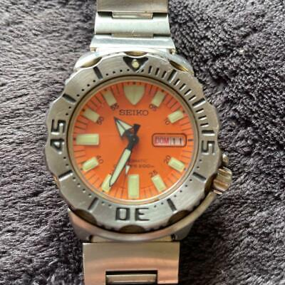 $ CDN566.39 • Buy Seiko Diver Scuba Day Date Orange Monster SS Automatic Mens Watch Auth Works