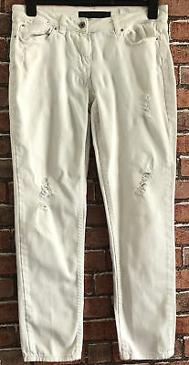 """£2.50 • Buy NEXT """"SLIGHTLY DISTRESSED"""" RELAXED SKINNY STRETCH WHITE JEANS Size 12R"""