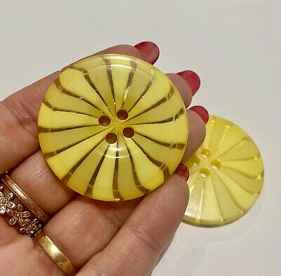 $6.36 • Buy Extra Large Yellow Swirl Button 44mm Flat Backed 4 Hole D469 Aussie Seller