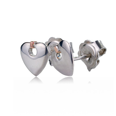 £59.95 • Buy Clogau Silver Earrings Stud Cariad Heart Sterling 925 Welsh Rose Gold 3SCE012