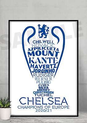 £6.99 • Buy Chelsea FC Champions Of Europe 2021 A4/A3 Gift/Memorabilia #156