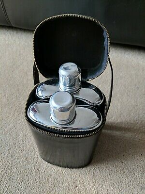 £8 • Buy Hip Flask Shooting Hunting 2 Glass Bottles With Metal Trim In Hide Carry Case BN