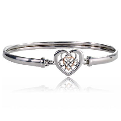 £129 • Buy Clogau Silver Bangle Welsh 9ct Rose Gold Royalty Heart Sterling 925 Boxed 3SWLRB