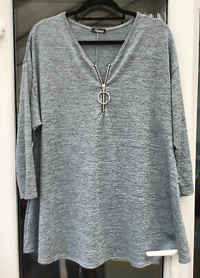 £5.80 • Buy Yours Limited Collection Zip Up Blue Tunic Top Size 16 (generous)