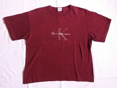 AU13.35 • Buy VINTAGE 90s CK CALVIN KLEIN JEANS SPELL OUT LOGO T SHIRT USA