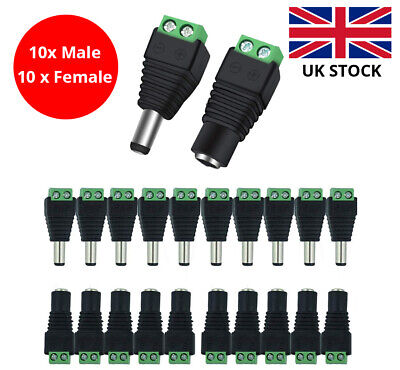£3.95 • Buy 10 Pairs Male & Female 2.1 X 5.5mm DC Power Jack Plug Adapter Connector For CCTV