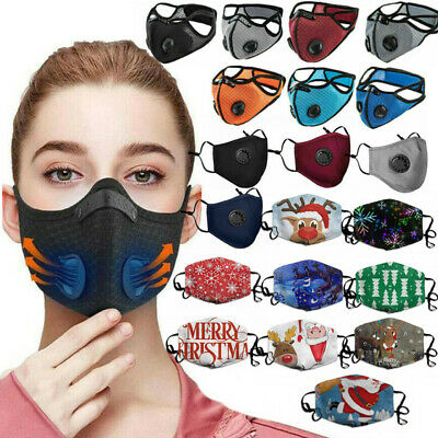 £2.99 • Buy Reusable Washable Anti Pollution Face Mask PM2.5 One/Two Air Vent With Filter UK