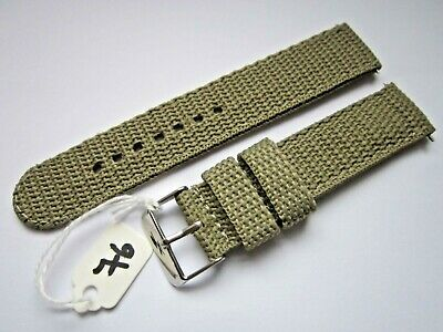 £4.99 • Buy Gents 20mm  Khaki Coloured Nylon Military Style Watch Strap-Steel Buckle & Pins