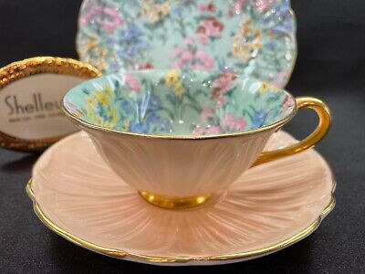 £304.51 • Buy Shelley MELODY CHINTZ FOOTED OLEANDER CUP, SAUCER AND 7  PLATE - # 13412