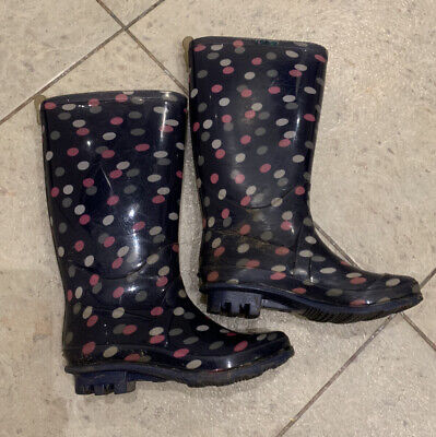 £5 • Buy Girls Navy Blue Wellies With Purple & Pink Spots, Size 11