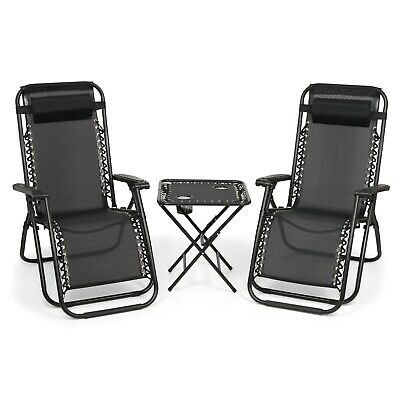 £69.95 • Buy Garden Folding Table And 2 Zero Gravity Sun Lounger Chairs Set With 2 Cupholders