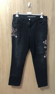 £0.99 • Buy Ladies Next Faded Black/charcoal Grey Embroidered Relaxed Skinny Jeans Size 16R