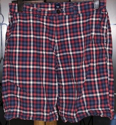 """£0.99 • Buy Boys 8-10 Years Blue & Red Checked Shorts Gap Waist 33"""""""