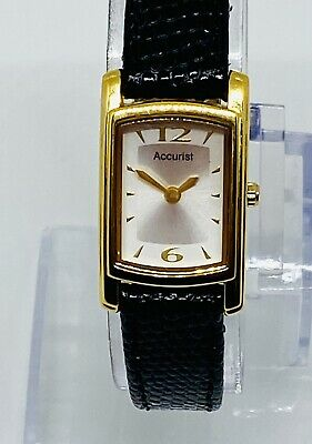 £14.99 • Buy Ladies Classic Accurist Gold Tone Watch Black Leather Strap - Boxed- New Battery