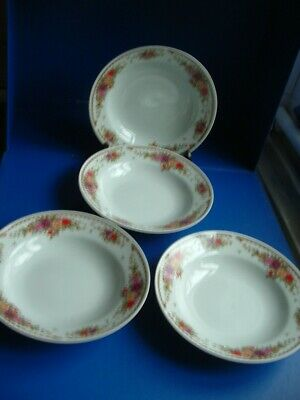 £4.99 • Buy Crown Dynasty Floral Pattern 4 X Rimmed Soup Bowls
