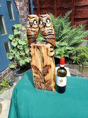 £40 • Buy Chainsaw Wood Carving Of Two Owls Garden Ornament