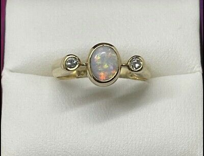 AU885 • Buy Val 9ct Yellow Gold Solid Natual Opal Ring With Diamond Accents