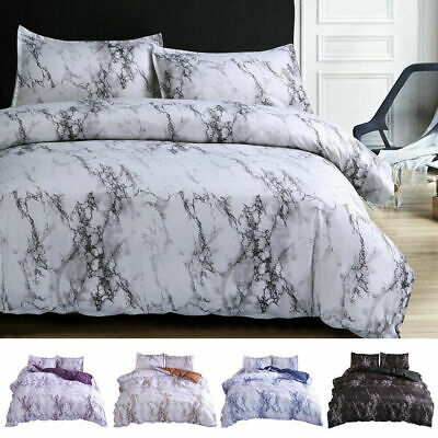 £37.52 • Buy Marble Effect Duvet Cover Quilt Cover Bedding Set Double King Size 90 X 103  NEW