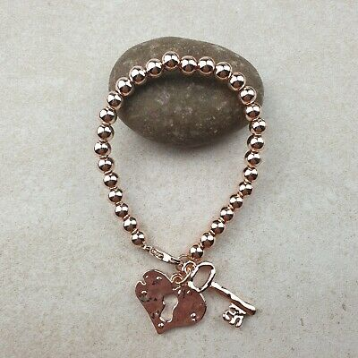£5.50 • Buy Rose Gold Coloured Stretch Bracelet With Lock And Key Pendant