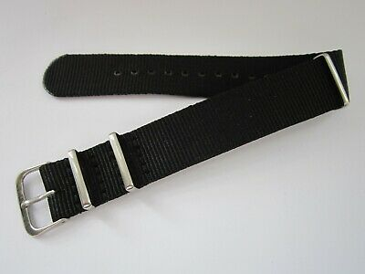 £4.99 • Buy Men's 20mm Black Nylon NATO Military Style Watch Strap & Stainless Steel Buckle