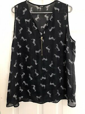 AU5.53 • Buy Black With Zebras Sheer Top Size 18