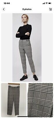 £12.99 • Buy Topshop Dogtooth Trousers Check Black White Cigarette Pant 8 Worn Once Sold Out