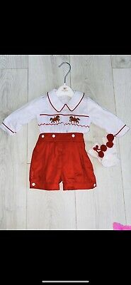 £10 • Buy Carmelo Smocked Baby Boys Outfit And Matching Socks.