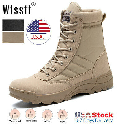 $36.99 • Buy Men's Army Military Combat Ankle Boots Outdoor Lightweight Canvas Tactical Shoes