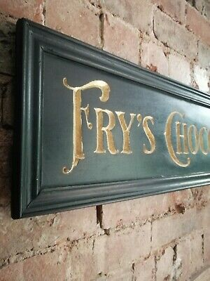 £90 • Buy FRYS CHOCOLATE Sign Carved Wood Gold Black Period Vintage Style Wood Sign VAC268
