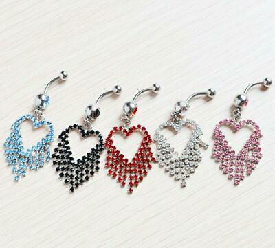 £2.45 • Buy Open Hearts Belly Button Dangle Piercing Crystal Barbell Navel Jewellery UK