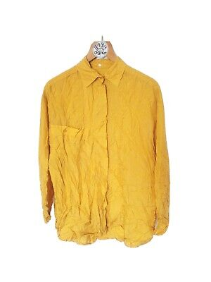$19.33 • Buy Vintage 40 M 14 100% Silk Yellow Ocre Shirt Blouse Long Sleeve Collared Pocket