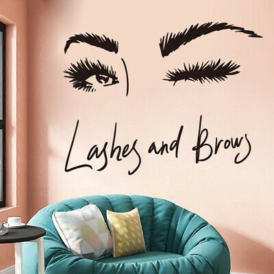 £3.54 • Buy Eye Lashes Extensions Beauty Salon Wall Decor Eyebrows Make Up Wall Sticker  MB