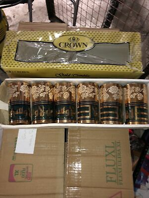 £8 • Buy  Retro  Dynasty Crown Gold Gilt  Decorated  6 Piece Glass Tumbler Set
