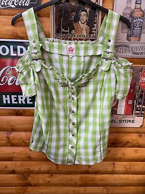 £10 • Buy SPIETH & WENSKY Green/White Check Top.Used.Size 44.(Octoberfest)Corset Fastening