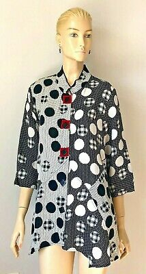 £32.93 • Buy Nwot Ali Miles Verable Art Mandarin Collar 3/4 Sleeves Button Up Tunic Size L