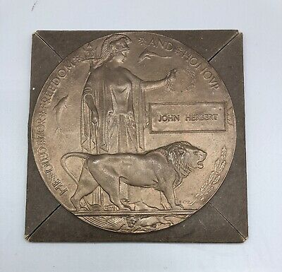 £650 • Buy Ww1 Memorial Plaque Death Penny & Medals Awarded To Herbert Brothers
