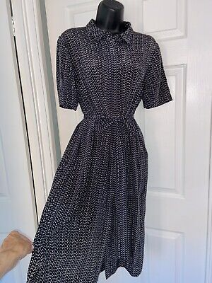 £8.27 • Buy Jigsaw Black White Print Casual Buttons Front MIDI Silk Dress Size 14 Pockets