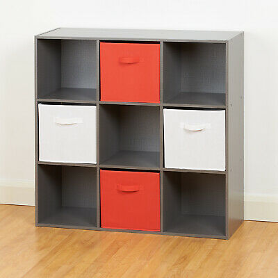 £66.99 • Buy Grey 9 Cube Storage Unit White & Red Boxes Childrens/Kids Bedroom Toy Basket/Box
